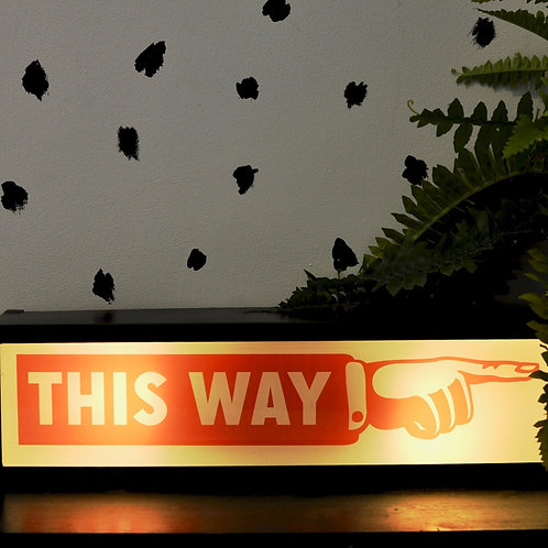 Quirky Retro This Way Light Box Sign