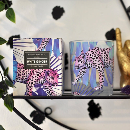 Beautiful White Ginger Scented Leopard Candle