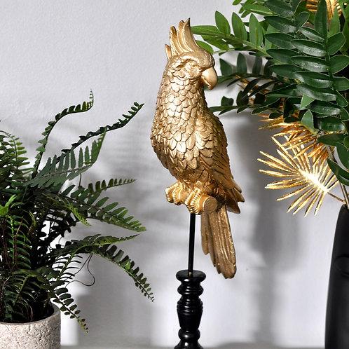 Gold Perched Cockatoo Parrot