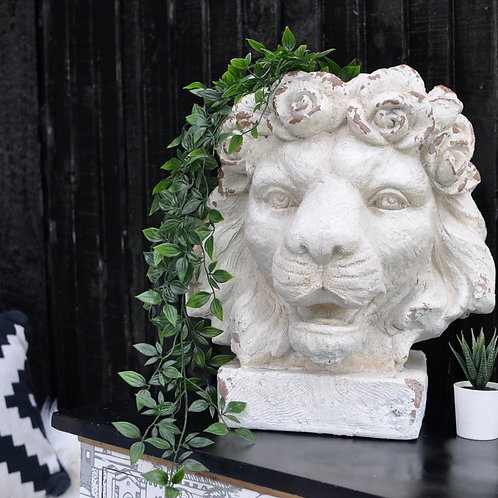 Large Rustic Stone Effect Lion Head Planter