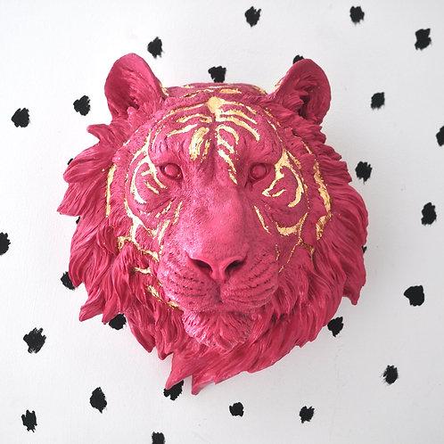 X Large Pink Faux Taxidermy Tiger Wall Head