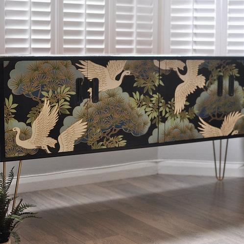 Refinished Elegant Japanese Crane Print Vintage Sideboard