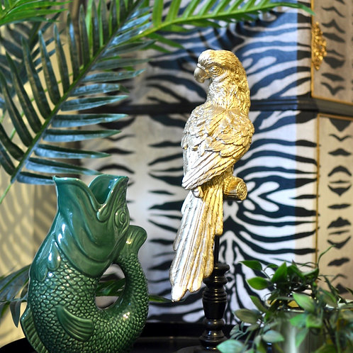 Gold Perched Cockatoo Parrot Ornament