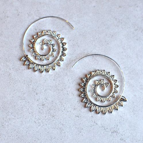 Silver Tone Spiral Earrings