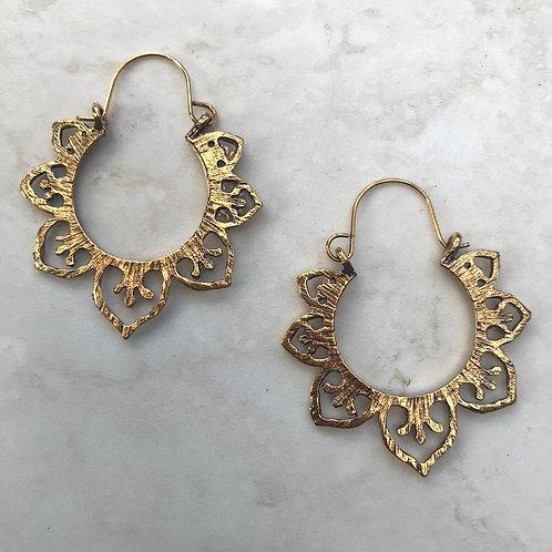 Large Brass Tribal Earrings