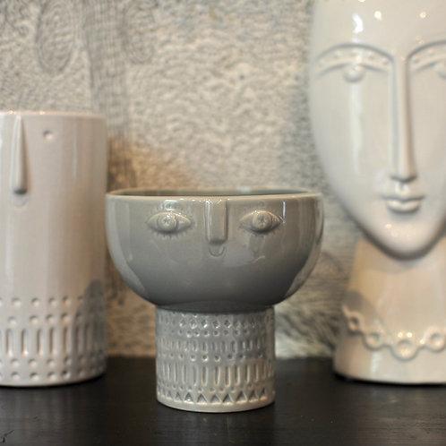 Grey Face Decorative Bowl Vase