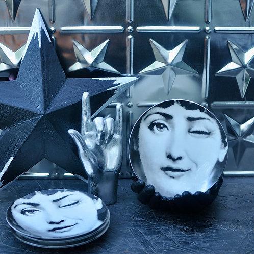 Set of 2 Monochrome Winking Lady Plates