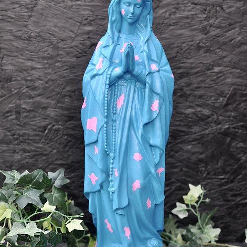 Bright Blue Praying Madonna Statue