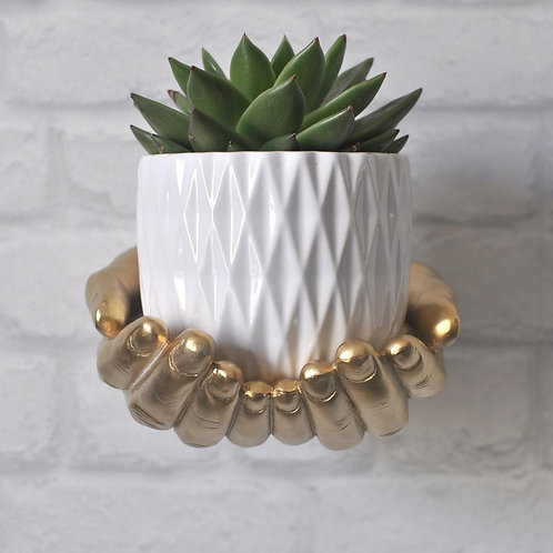 Gold Wall Mounted Plant Holder Hands