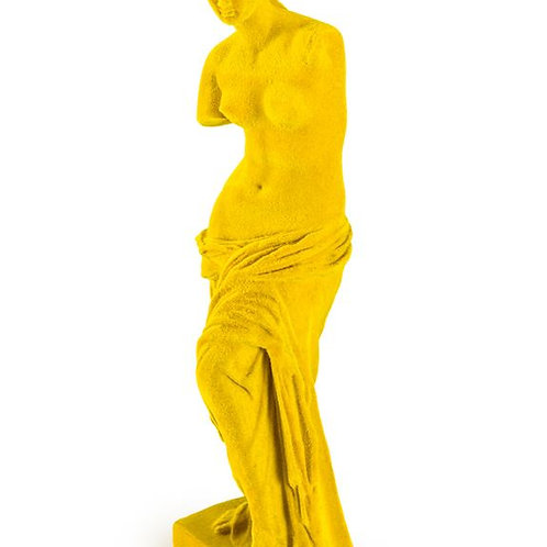 Flocked Yellow Classical Venus De Milo Figure Ornament