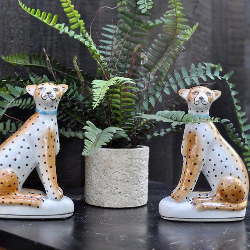 Pair of Ceramic Sitting Leopard Figures