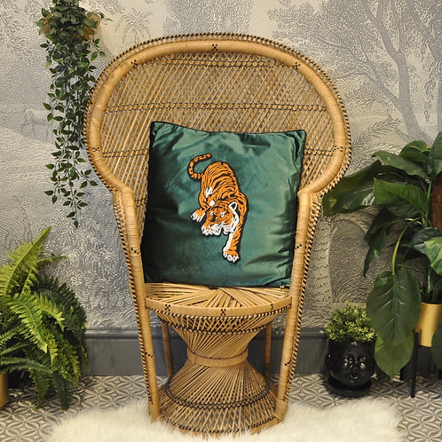 Quirky Emerald Green Velvet Tiger Cushion