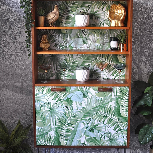 Upcycled G Plan Drinks Cabinet Banana Leaf Decoupage