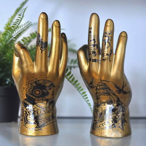 Quirky Gold Ceramic Tattoo Palmistry Hands