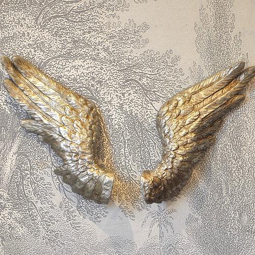 Pair of Silver Wall Angel Wings