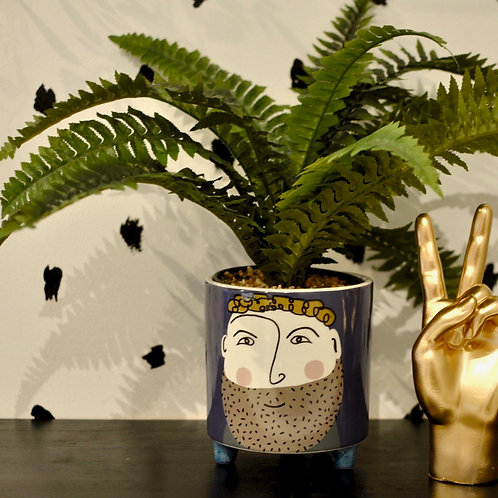 Hipster Gent Curly Hair Ceramic Plant Pot