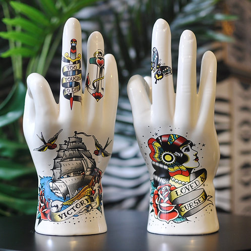 Ceramic Tattoo Palmistry OK Hand Ornaments