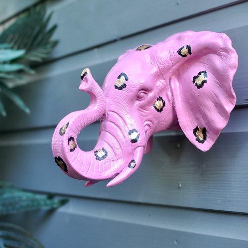 Pink Elephant Wall Head