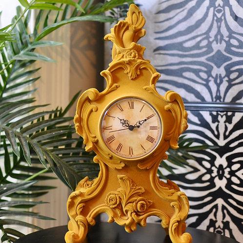 Large Mustard Flocked Mantel Clock