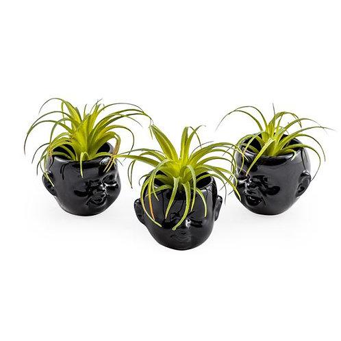 Quirky Set of 3 Mini Baby Head Ceramic Black Pots