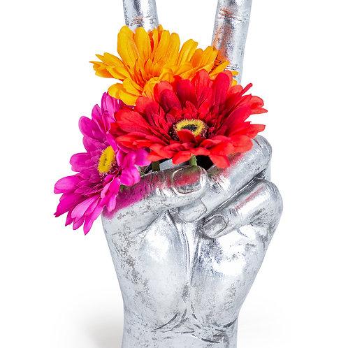 Silver Peace Hand Ornament Vase