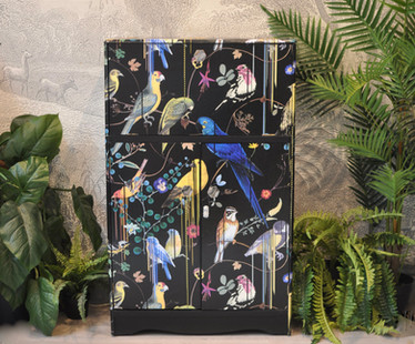Upcycled Vintage Cocktail Cabinet Birds Sinfonia Print 1.JPG