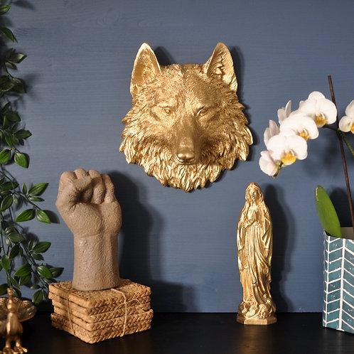 Metallic Gold Wolf Head Mount