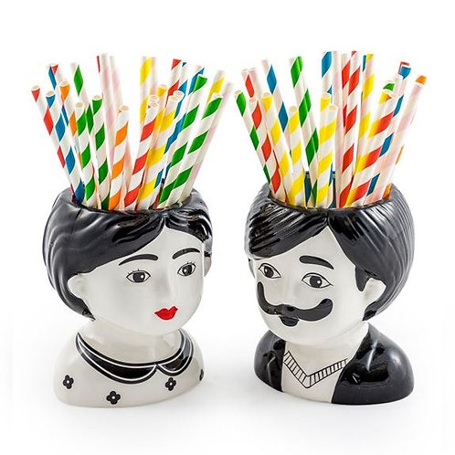 Quirky Set of 2 Mini Man and Woman Head Ceramic Pots