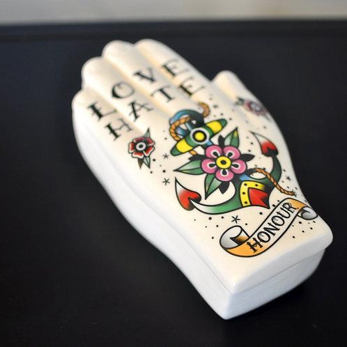 Honour Tattoo Palmistry Hand Trinket Pot