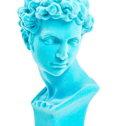Quirky Blue Flocked David Bust
