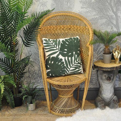 Green Crewel Work Philo Leaves Cushion