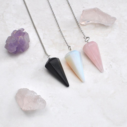Natural Crystal Style Faceted Cone Pendulum