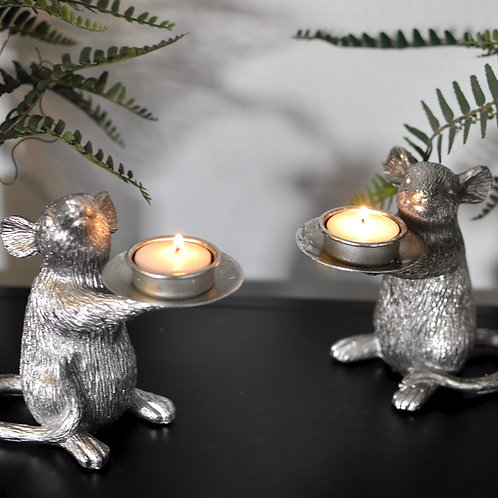 Cute Pair of Silver Mouse Tealight Holders