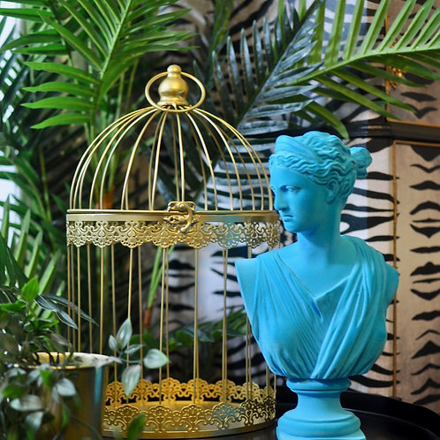 Teal Flocked Classical Artemis Bust