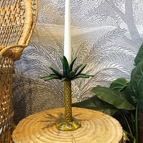 Gold Palm Tree Candle Stick Holder