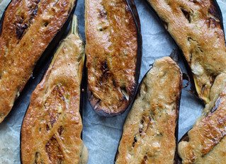 Grilled aubergines with tahini barbecue sauce