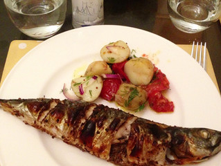 Grilled spicy mackerel with new potato salad
