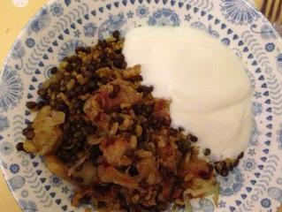 Yotam Ottolenghi's lentil, bulgur and aubergine pilaf