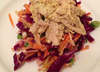 Crunchy red cabbage slaw and mustard chicken