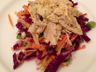 Crunchy red cabbage slaw and mustard chicken
