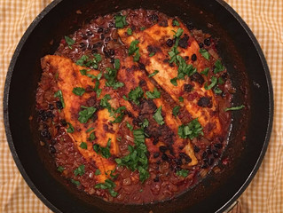 Pan fried seabass with harissa and rose