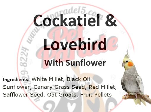 Cockatiel & Lovebird Mix with Sunflower