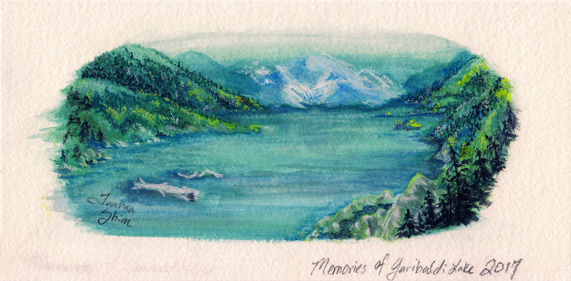 Gouache painting. My Garibaldi Lake adventure was one of the toughest hiking trails I'd been on so far. This breathtaking view at the top of the mountain made it all worthwhile.