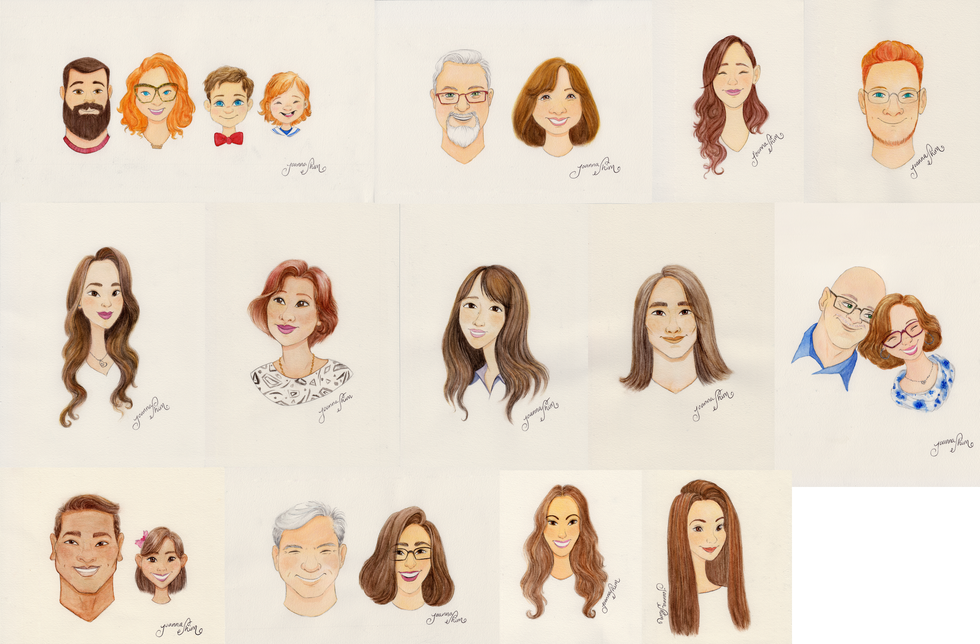 Watercolor Portraits. Gifts for family and friends.