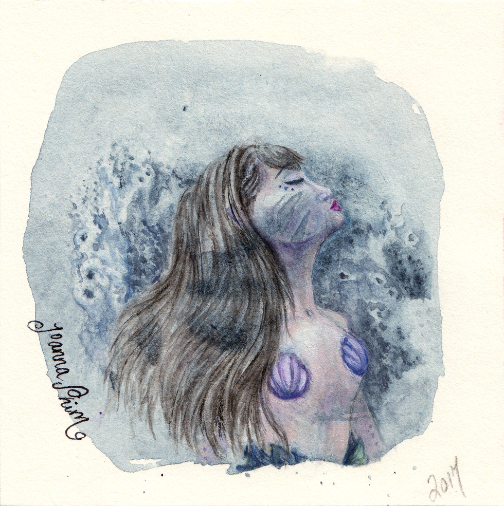 """mermaid, freestyle warm-up paintings from imagination, 3"""" x 3"""""""