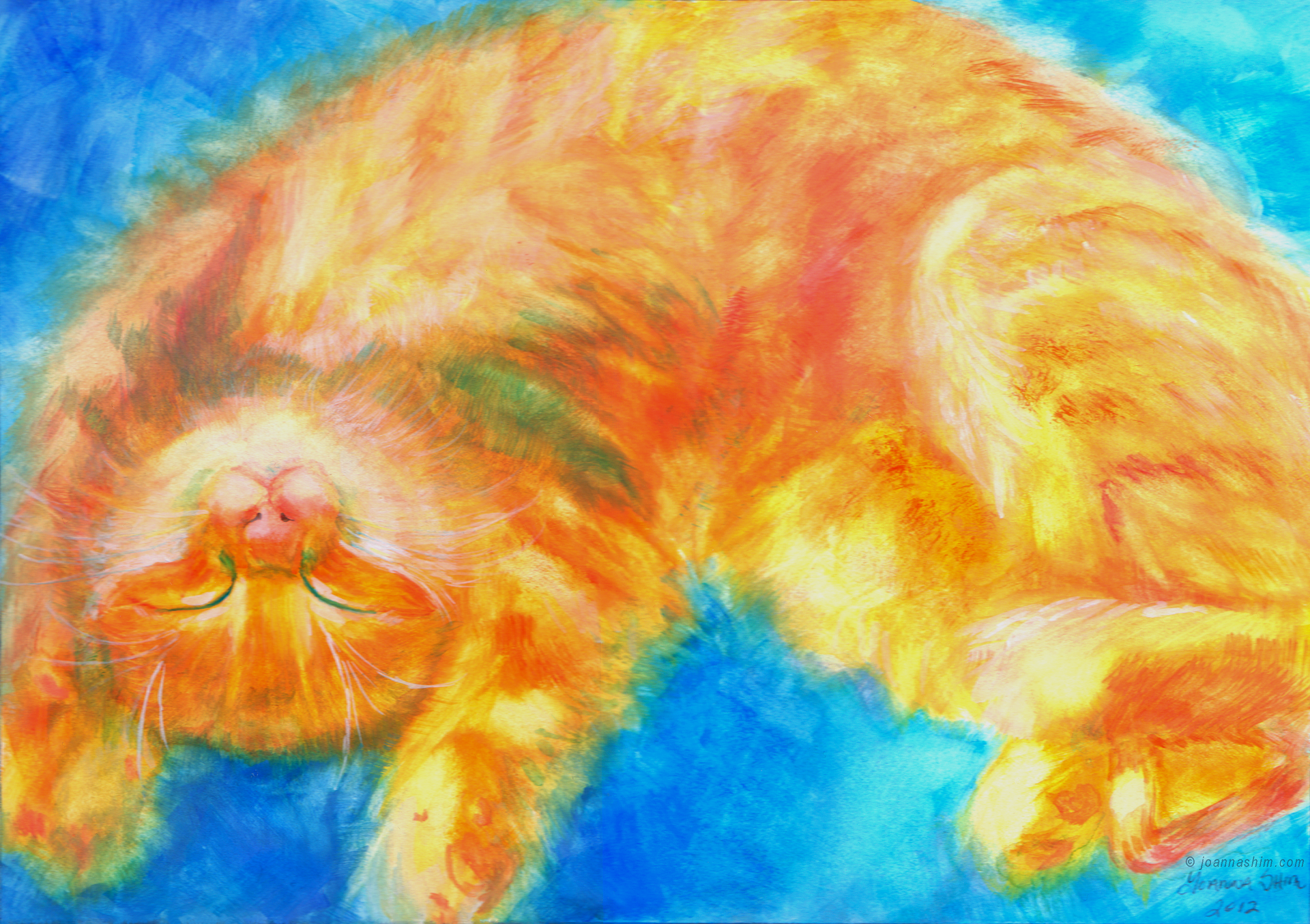 Watercolor painting. I saw this adorable cat online and had to paint it right away!