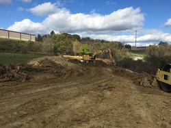 Pond basin excavation