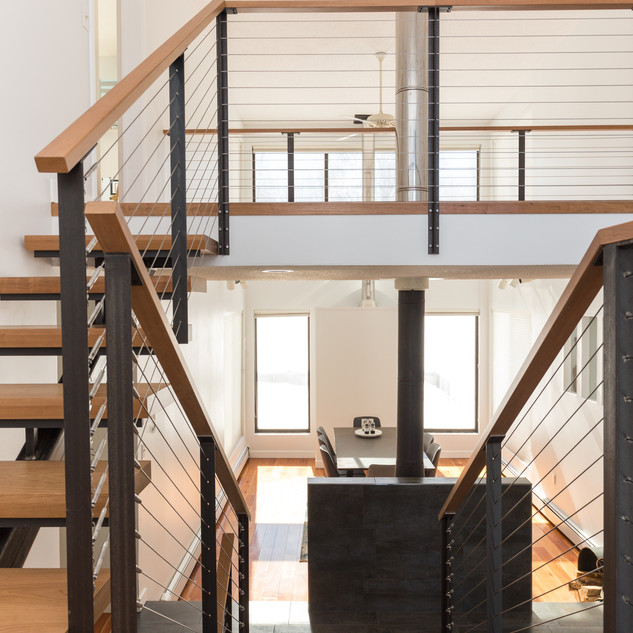 Modern staircase & hearth