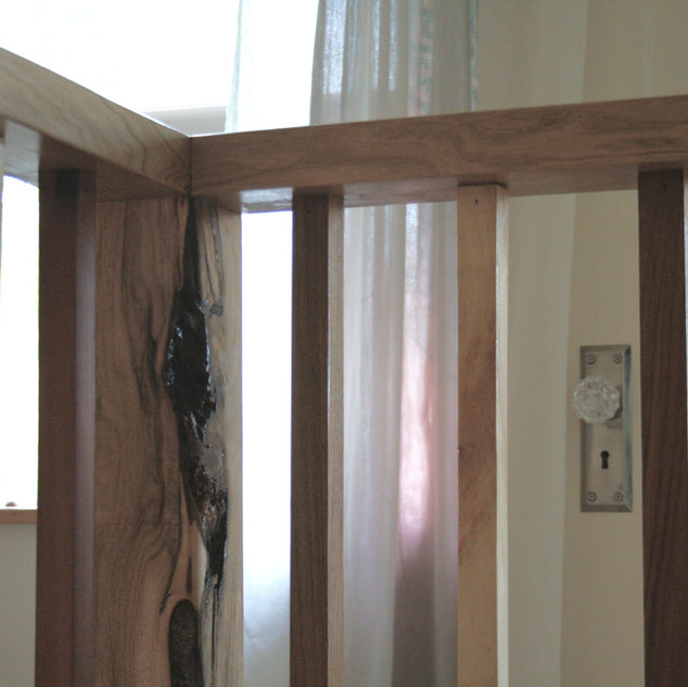Banister made with site-milled wood