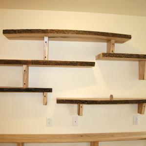 Custom bookshelf made from wood milled on site